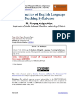 Evaluation of English Language Teaching Syllabuses