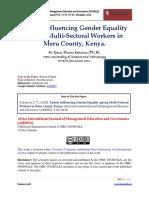 Factors Influencing Gender Equality Among Multi-Sectoral Workers in Meru County, Kenya.