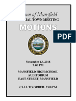 Mansfield Special Town Meeting Articles