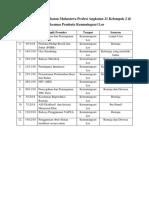 Jadwal Promosi Kesehatan Mahasiswa Profesi Angkatan 21 Kelompok 2 Di Puskesmas Pembatu Kemuningsari Lor