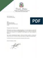 Carta de felicitación del presidente Danilo Medina a Jaime Alsina De Castro con motivo del 111 aniversario de la fundación del Club Atlético Licey