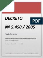 Decreto Nº 5450-05 - Pregão Eletrônico - Atualizada Até 07 Setembro 2018