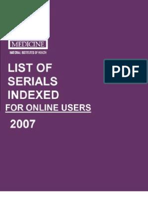 List of Serials Indexed | International Standard Serial