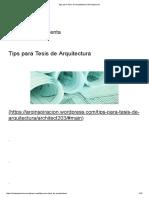 Tips Para Tesis de Arquitectura-Mi Inspiración