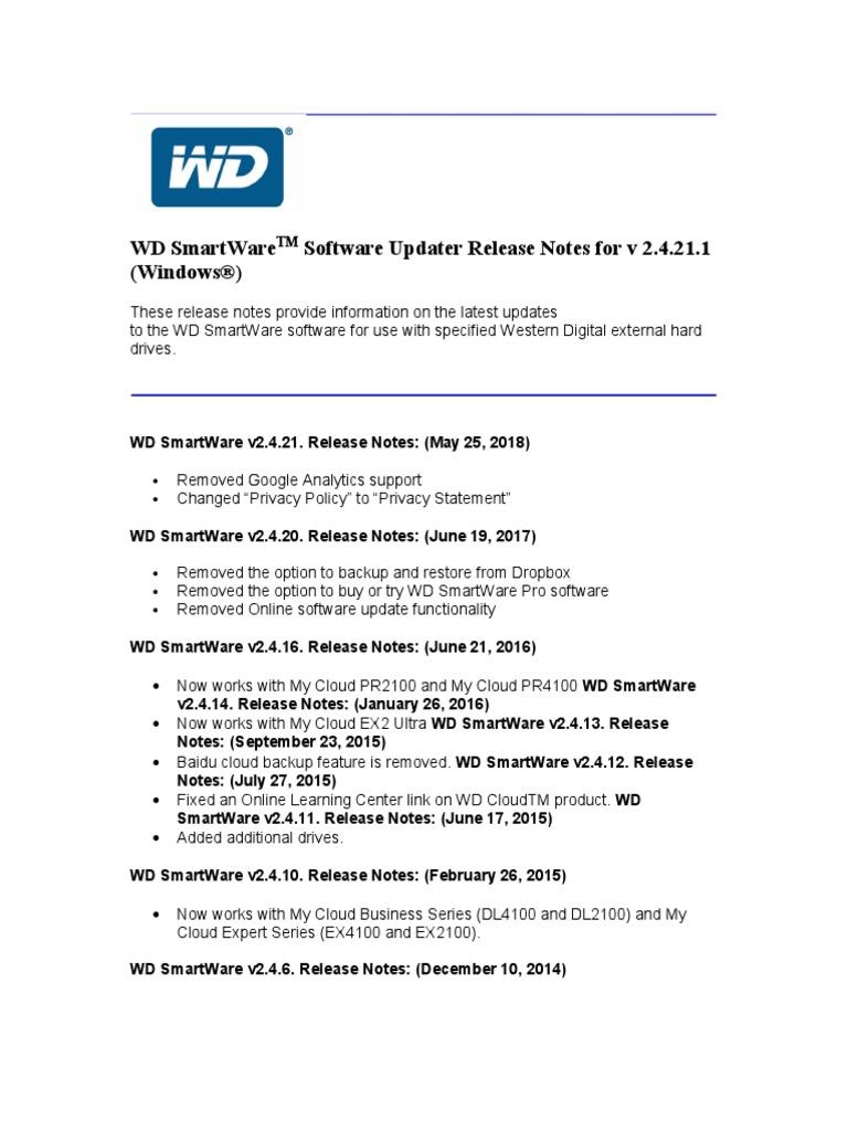 Win WD SmartWare 2 4 21 1 SW Release Notes | Microsoft