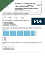 Evaluación Mate Cuarto Decimales