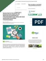 ÍNDICES ECONÔMICOS-FINANCEIROS DE ANÁLISE DAS DEMONSTRAÇÕES