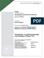 CHABERTY Introduction à la phénoménologie cosmologique d´Eugen Fink