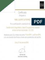 Certificado - Gestión de La Seguridad y Salud Ocupacional, Basada en Las Normas Nacionales - D.S. 055 (3)