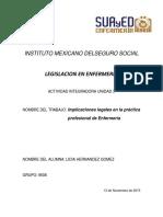 Actividad integradora 3 LEGILACION EN ENEFERMERIA
