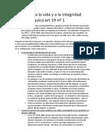 1 Derecho a La Vida y a La Integridad Física y Psíquica Art 19 Nº 1