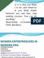 Women Entrepreneurs in Modern Era Ppt