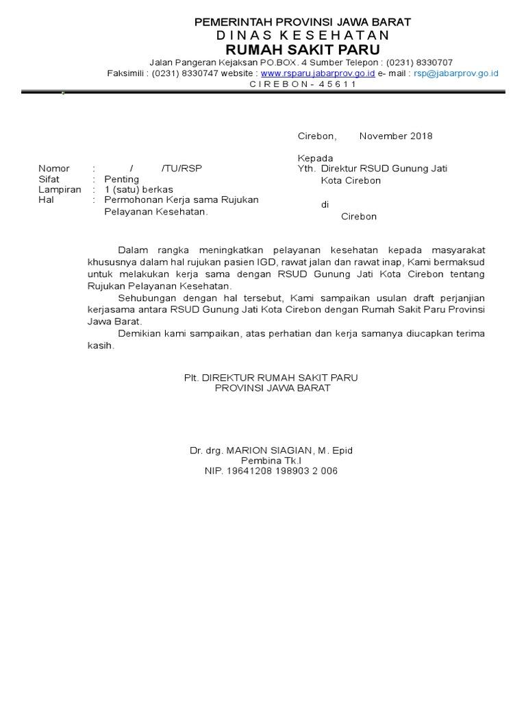 Contoh Surat Permohonan Kerjasama Dengan Rumah Sakit Info Terkait Rumah