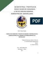 Manual de Procedimientos en el almacen central del Gobierno Municipal Autónomo de Monteagudo