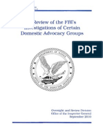 092010 FBI IG Review of Domestic Surveillance