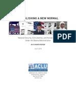 072910 ACLU Obama Establishing New Normal