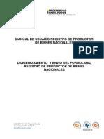 Manual de Usuario Registro de Productor de Bienes Nacionales