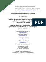 García López et al. - 2012 - Impacto del Programa de Tutoría en el desempeño académico de los alumnos del Instituto Tecnológico de Sonor.pdf