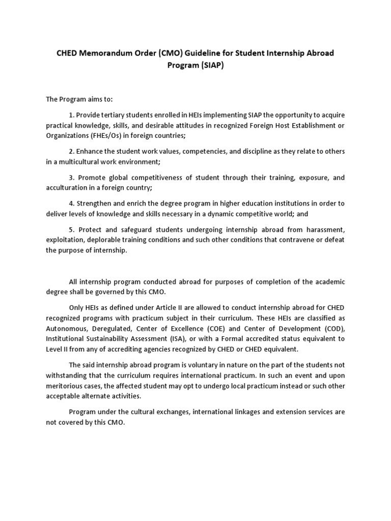 CHED Memorandum Order CMO Guidelines for Student Internship