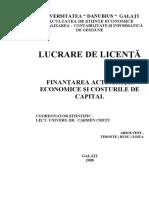 Lucrare de Licenta - Fin Ant Area Activitatii Economice Si Costurile de Capital - Timofte (Rusu) Zoita
