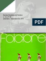 Revista do Folclore Brasileiro N°40 - Setembro a Dezembro de 1974
