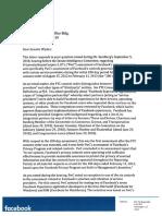 Facebook letter to Sen. Ron Wyden regarding partner monitoring