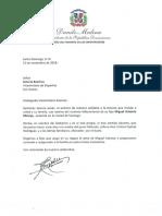 Carta de condolencias del presidente Danilo Medina a Soterio Ramírez por fallecimiento de su hijo Miguel Antonio Minaya