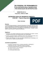 Programa e Plano de Ensino Pga 961 Antropologia Do Desenvolvimento Zweites Semester 2014