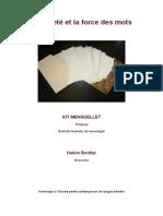 Livre d'Artiste 1, La Pureté Et La Force Des Mots, Poèmes Ait Menguellet, Gravures Hakim Beddar