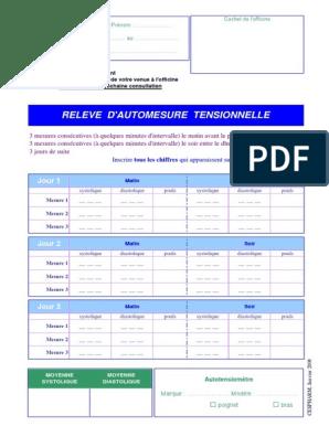 Relevé Dautomesure Tensionnelle A Imprimer - Teenzstore