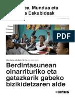 """Unidad Didáctica """"Berdintasunean oinarrituriko eta gatazkarik gabeko bizikidetzaren alde"""" (euskara)"""