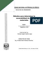 Métodos Para Determinar La Excavabilidad de Los Materiales