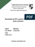PAZ, MARIA - PI Reciclado de PET a Partir de Botellas Post Consumo