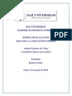 Analisis Ejecutivo de Video -Concepto de Evaluacion (ISAE MDS#44 – RAMON CORRALES)
