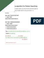 Finite Automata Algorithm for Pattern Searching