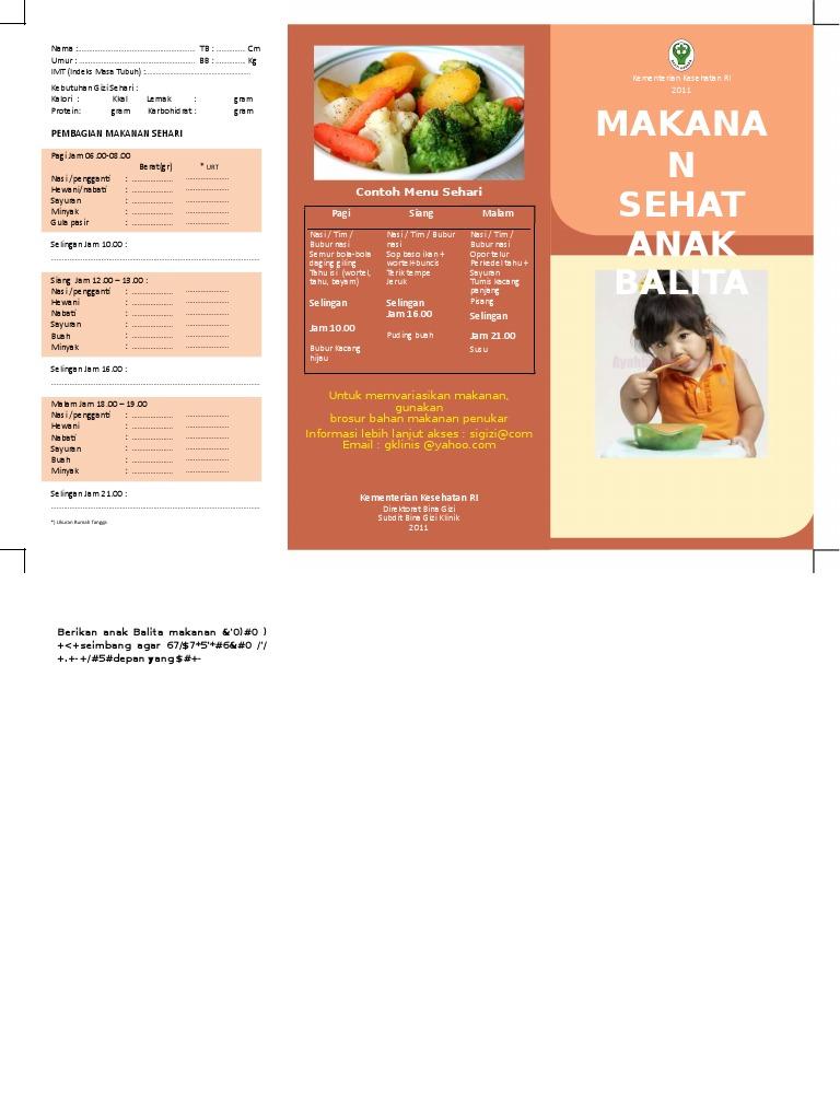 Brosur Makanan Sehat Anak Balita