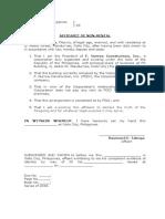 Affidavit of NonRental JV