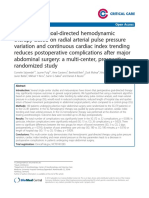 Perioperative Goal Directed Hemodynamic Therapy Based on Radial Arterial Pulse Pressure Variation and Continuous Cardiac Index Trending Reduces Postoperative Complications After Major Abdominal Surgery Multicenter Prospective Randomized CritCare 2013