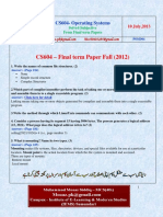 CS604 Operating Systems 2012 Final Term Questions Answers Solved With References by Moaaz