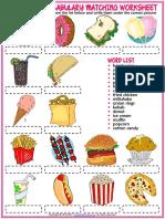 Fast Food Vocabulary Esl Matching Exercise Worksheet for Kids