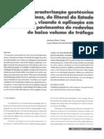 Caracterização geotécnica de solos finos lateríticos do estado do Sergipe