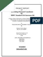 Hdfc Standard Life Insurance Project Report Sanjeev Singh