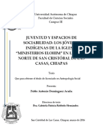 Juventud y espacios de sociabilidad. Los jóvenes indígenas de la iglesia Ministerios Elohim en San Cristóbal de Las Casas, Chiapas
