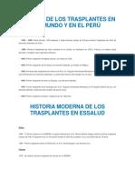 Historia de Trasplantes en El Mundo y en El Peru