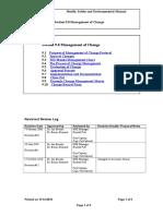 9.0 Management of Change