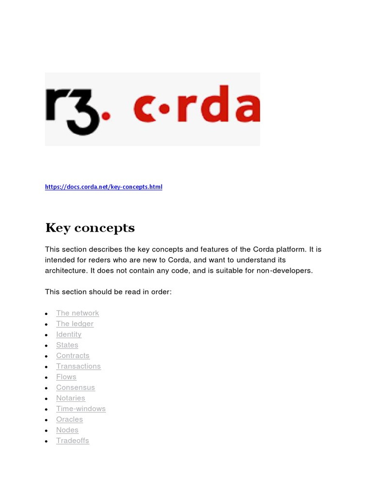 Corda Key Concepts | Computer Network | Information Technology