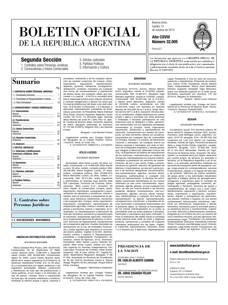Boletin Oficial 12-10-10 - Segunda Seccion 703d259bd3ef