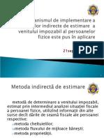 Metode și surse indirecte în cadrul legislației fiscale