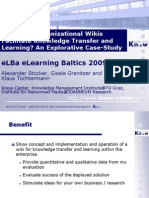 Can Intra-Organizational Wikis Facilitate Knowledge Transfer and Learning? An Explorative Case-Study