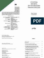 Cultura Escrita en Sociedades Tradicionales Spanish Edition